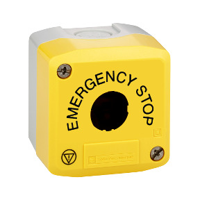 yellow empty enclosure lid - grey base-1 cut-out - EMERGENCY STOP/logo ISO13850 ref. XALK01H29 Schneider Electric [PLAZO 8-15 DI